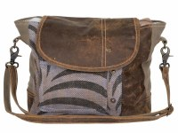"""12"""" Black and White Animal Print With Brown Canvas and Leather Elegance Icon Shoulder Bag"""