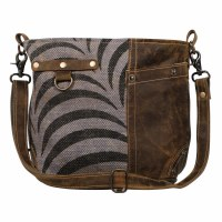 """14"""" Black and White Animal Print With Brown Canvas and Leather Pristine Need Me Shoulder Bag"""