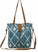 """15"""" Aqua and White Diamonds With Brown Canvas and Leather Beguile Shoulder Bag"""