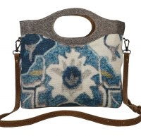 """15"""" Blue Multicolor and Gray Canvas and Leather Wealth Tote Bag"""