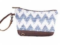 """11"""" Blue and White With Brown Canvas and Leather Crossovers Pouch"""