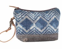 """11"""" Blue and White With Gray Canvas and Leather Armada Pouch"""
