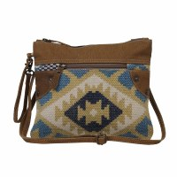 """11"""" Blue and Khaki With Brown Canvas and Leather Tough Small & Crossbody Bag"""