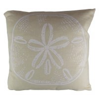"""15"""" Square Beige and White Sand Dollar Pillow"""