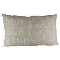 "9"" x 11"" Beige and White Sun Sea Sand Pillow"
