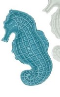 """9"""" Blue Ceramic Seahorse Dish"""
