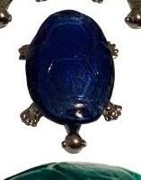 "5"" Dark Blue Glass and Metal Turtle Figurine"