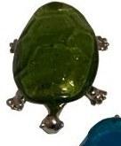 "5"" Green Glass and Metal Turtle Figurine"