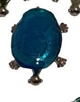 "5"" Light Blue Glass and Metal Turtle Figurine"