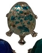 "5"" Multicolor Glass and Metal Turtle Figurine"