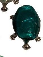"5"" Teal Glass and Metal Turtle Figurine"