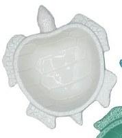 """7"""" White Ceramic Sea Turtle Dish"""