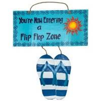 "24"" Blue Wood Flip Flop Zone Wall Plaque"