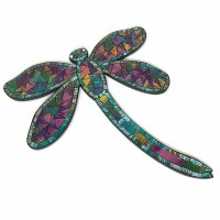 """17"""" Turquoise and Pink Multicolor Mosaic Dragonfly Wall Plaque"""