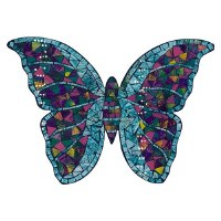 """17"""" Blue and Purple Multicolor Mosaic Butterfly Wall Plaque"""