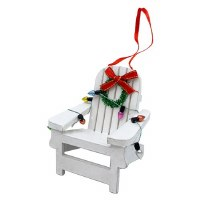 "3"" White Wood Adirondack Chair With Christmas Lights and Wreath Ornament"