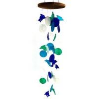 "28"" Blue, Green, Aqua and White Round Capiz Dolphin Wind Chime"