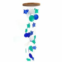 """28"""" Blue, Green and White Round Capiz Turtle Wind Chime"""
