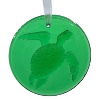 "4"" Round Green Glass Sea Turtle Suncatcher"
