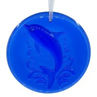 "4"" Round Cobalt Blue Glass Dolphin Suncatcher"