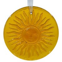 "4"" Round Amber Glass Sun Face Suncatcher"