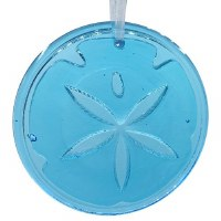 "4"" Round Turquoise Glass Sand Dollar Suncatcher"