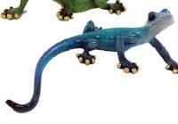"9"" Glossy Blue Polyresin Gecko Figurine"