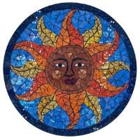 "16"" Round Multicolor Mosaic Sun Face Wall Plaque"
