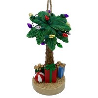 "4"" Multicolor Polyresin Palm Tree With Lights and Gifts Ornament"