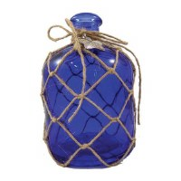 """6"""" Dark Blue Glass Bottle With Net and Pewter Starfish"""