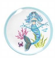 "8"" Round Multicolor Mermaid Garden Melamine Plate"