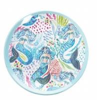 "8"" Round Multicolor Mermaid Garden Trio Melamine Plate"