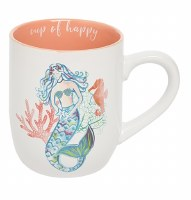 """4"""" Light Orange Cup of Happy Mermaid Mug"""
