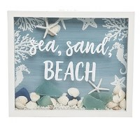 """9"""" x 11"""" Sea, Sand, Beach and Shells Shadow Box With White Frame"""