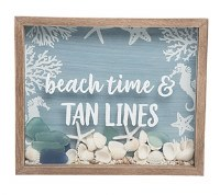 """9"""" x 11"""" Tan Lines and Shells Shadow Box With Wood Frame"""