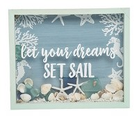 """9"""" x 11"""" Set Sail and Shells Shadow Box With Green Wood Frame"""