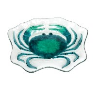 """11"""" Teal Glass Crab Shaped Plate"""
