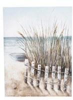 """32"""" x 24"""" 3D Beach Fence abd Boat Canvas Wall Art"""