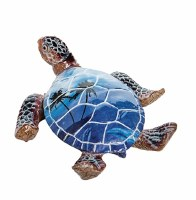 "4"" Blue Polystone Tropical Picture Sea Turtle Figurine"