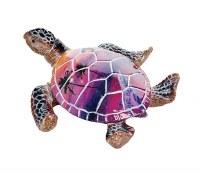 "4"" Pink and Purple Polystone Tropical Picture Sea Turtle Figurine"