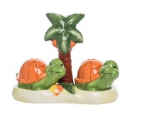 """4"""" Multicolor Turtles Salt & Pepper Shakers With Palm Tree Tray"""
