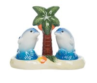 """4"""" Multicolor Dolphins Salt & Pepper Shakers With Palm Tree Tray"""