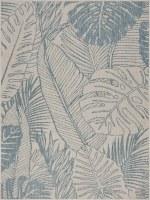 1.10' x 3' White and Aqua Tropical Leaves Rug