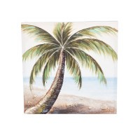 """20"""" Square 3D Palm Tree on Beach Canvas Wall Art"""