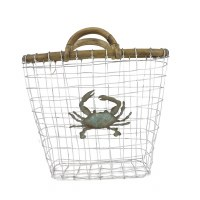 """12"""" White Wire Basket With Patina Crab and Wood Handles"""