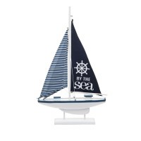 """18"""" Navy and White By The Sea Sailboat on Stans"""