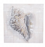 """24"""" Square Antique White and Gold 3D Conch Wall Plaque"""