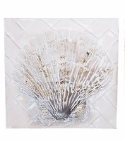 """24"""" Square Antique White and Gold 3D Scallop Shell Wall Plaque"""