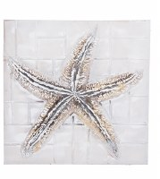 """24"""" Square Antique White and Gold 3D Starfish Wall Plaque"""