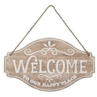 """23"""" Whitewashed Wood Welcome to Our Happy Place Wall Plaque"""